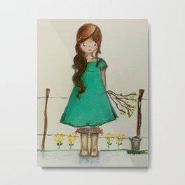 "The little farm girl ""paisanita"" Metal Print"