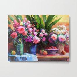 Roses and Aspidistra Plant Metal Print