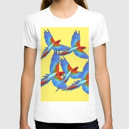 FLOCK OF BLUE MACAWS ON YELLOW T-shirt