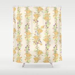 Romantic Vintage Pattern Design of Birds & Flowers - Antique Shower Curtain