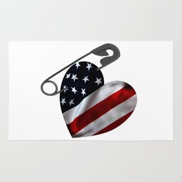 American Flag Heart Safety Pin Rug