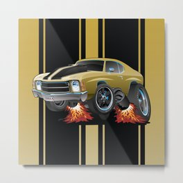 Classic American Seventies Muscle Car Cartoon, Gold with Black Stripes, Popping a Wheelie Metal Print