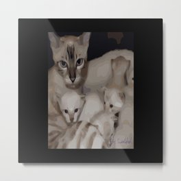 Luna the snow bengal cat and her kittens Metal Print