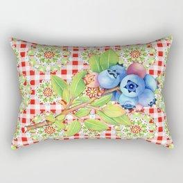 Maine Blueberry Red Gingham Mandala Rectangular Pillow