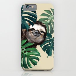 Sneaky Sloth with Monstera iPhone Case