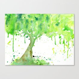 Watercolor Spring Tree Abstract Paint Splatter Canvas Print