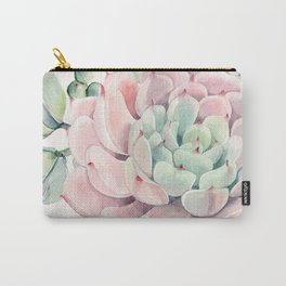 Pink Succulents on Cream Carry-All Pouch