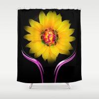 sunflower Shower Curtains featuring Sunflower by Walter Zettl