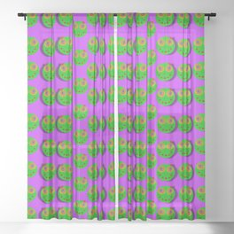 The happy eyes of freedom in polka dot cartoon pop art Sheer Curtain