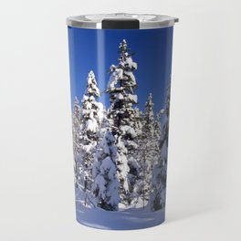 Snow covered trees in the forest. Winter day with blue sky. Travel Mug