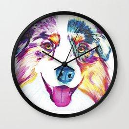 Happy Australian Shepherd Wall Clock
