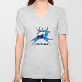 Elk Spirit (Blue) Unisex V-Neck