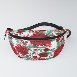 Merry Red Poinsettia Flowers Ivy Leaves Watercolor Fanny Pack
