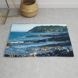 Costal Vibes // Northeastern Maine Rocks and Ocean Photograph Rug