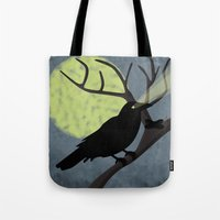 crow Tote Bags featuring Crow by Nir P