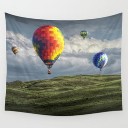 Hot Air Balloons over Green Fields Wall Tapestry