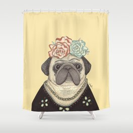 Frida Pug Kahlo Shower Curtain