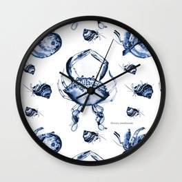 Blue Crab Toile Wall Clock