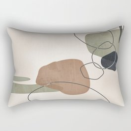 Linkedin Abstract in Sage Green, Cinnamon and Charcoal Grey Rectangular Pillow