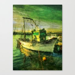 The Green Fisher Boat Canvas Print