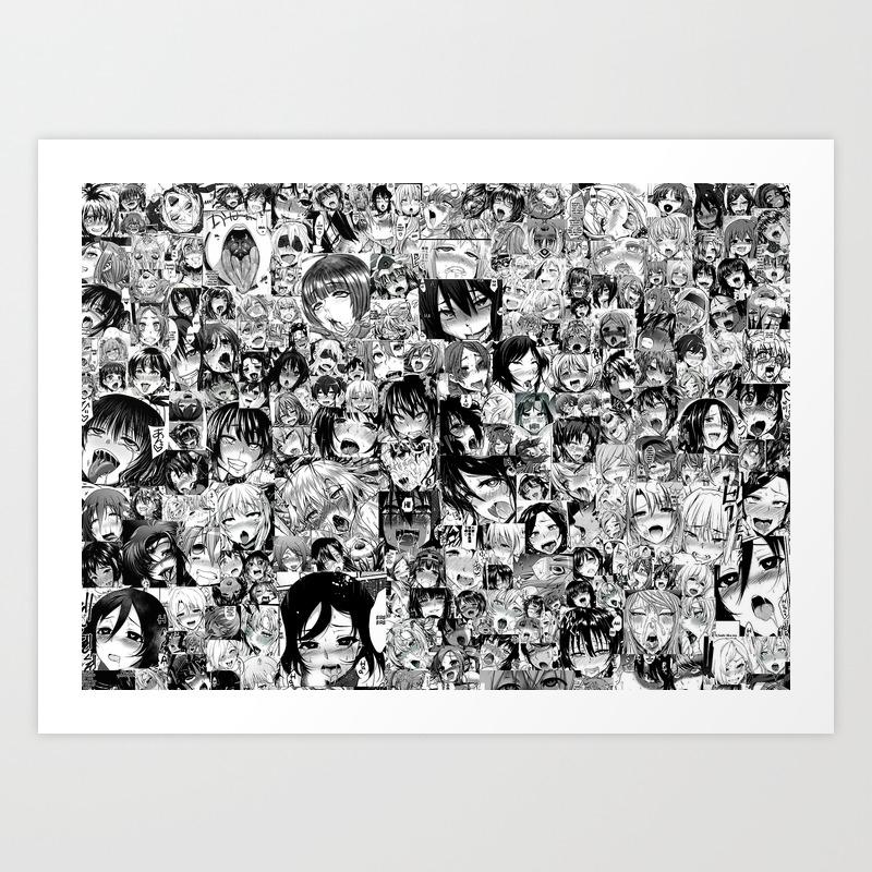 Ahaego ahegao hentai faces art print