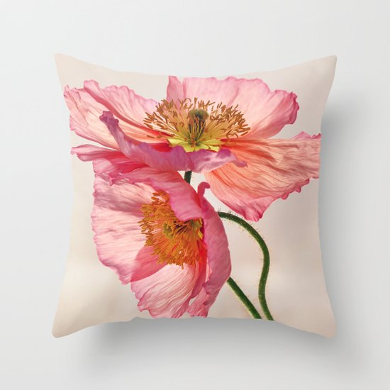 Like Light through Silk - peach / pink translucent poppy floral Throw Pillow