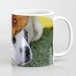 English Bulldog Puppy Wearing a Straw Hat with Bright Orange Flower for Spring Coffee Mug