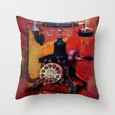 Nobody's Home grunge retro phone illustration.  Throw Pillow