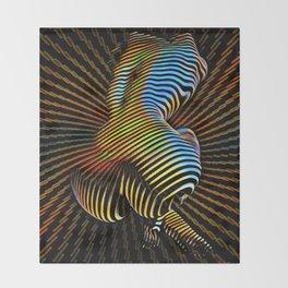 0727s-MM Sensual Abstract Figure Zebra Striped Op Art Nude Woman Back Butt Powerful Artwork Throw Blanket
