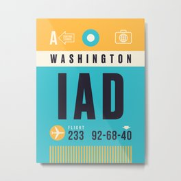 Baggage Tag A - IAD Washington Dulles USA Metal Print
