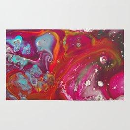Fluid Nature - Red Nebula - Abstract Acrylic Art Rug
