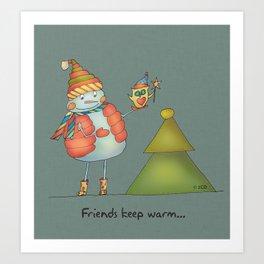 Friends keep warm - greyish Art Print