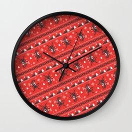 KRAMPUS PATTERN (Red) Wall Clock
