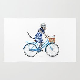 Cat on a Blue Bicycle Rug
