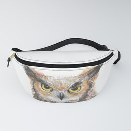 Owl Great Horned Owl Watercolor Fanny Pack