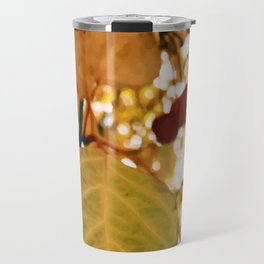 Autumn on Film, Painting of a Yellow Fall Leaf on a Sunny Day Travel Mug