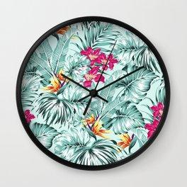 Bird of Paradise Greenery Aloha Hawaiian Prints Tropical Leaves Floral Pattern Wall Clock