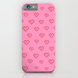 Pixel Heart Pattern on a Pink Background iPhone Case