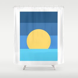 Sunset Over Waves | Blue Shower Curtain