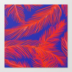 Tropical Palm Print - Red and Blue Canvas Print