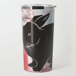 Black Rabbit and Strawberries Travel Mug
