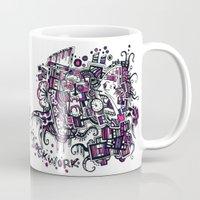 clockwork Mugs featuring Clockwork by Voodoodle