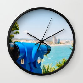 Blue Coin Operated Telescope Of Panoramic Tropical City And Ocean View Wall Clock