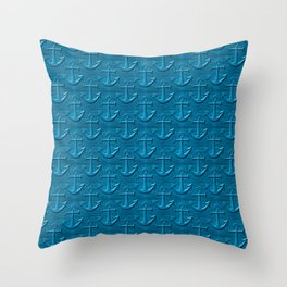 Anchor Pattern On Blue Wood Texture Throw Pillow