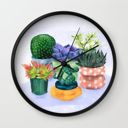Succulent Garden House Plants Wall Clock