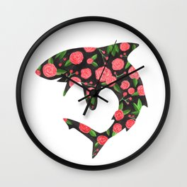 Floral Shark Wall Clock