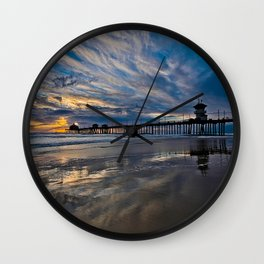 HB Sunsets  1/6/16   /  Sunset At The Huntington Beach Pier Wall Clock
