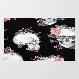 Day Of The Dead Floral Skulls Rug