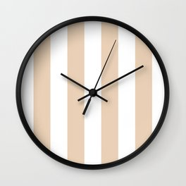 Vertical Stripes - White and Pastel Brown Wall Clock