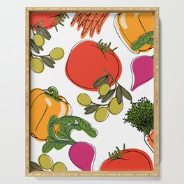 colorful vegetable medley Serving Tray